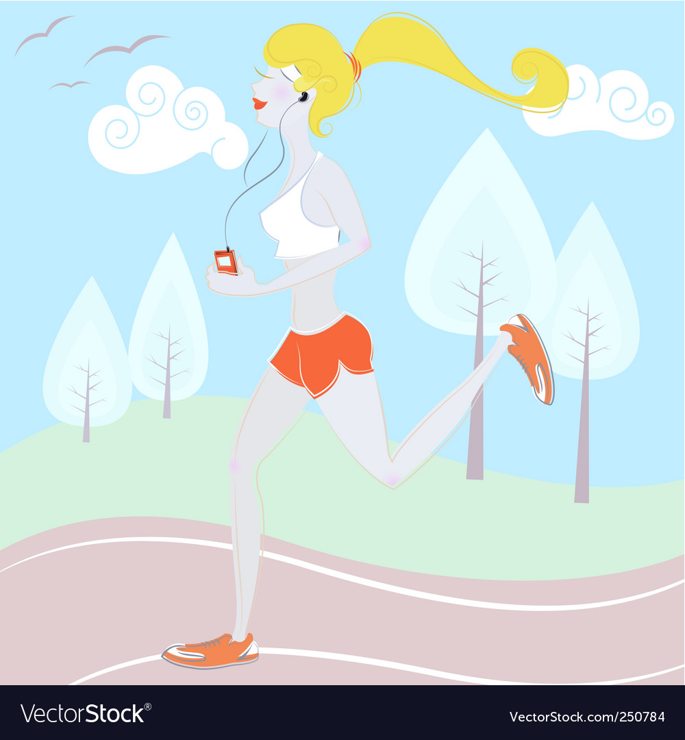 Girl running vector | Price: 3 Credit (USD $3)