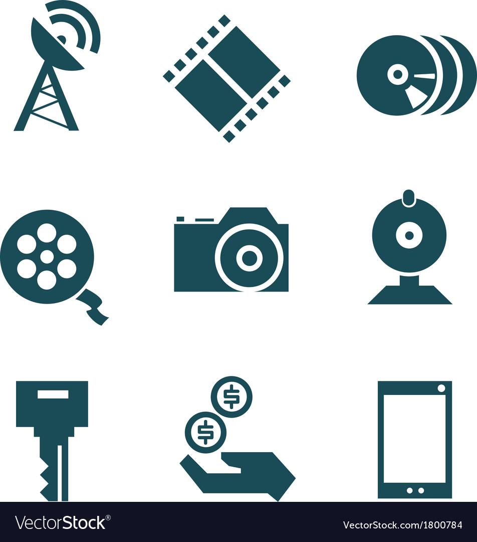 Media technologies icons set vector | Price: 1 Credit (USD $1)