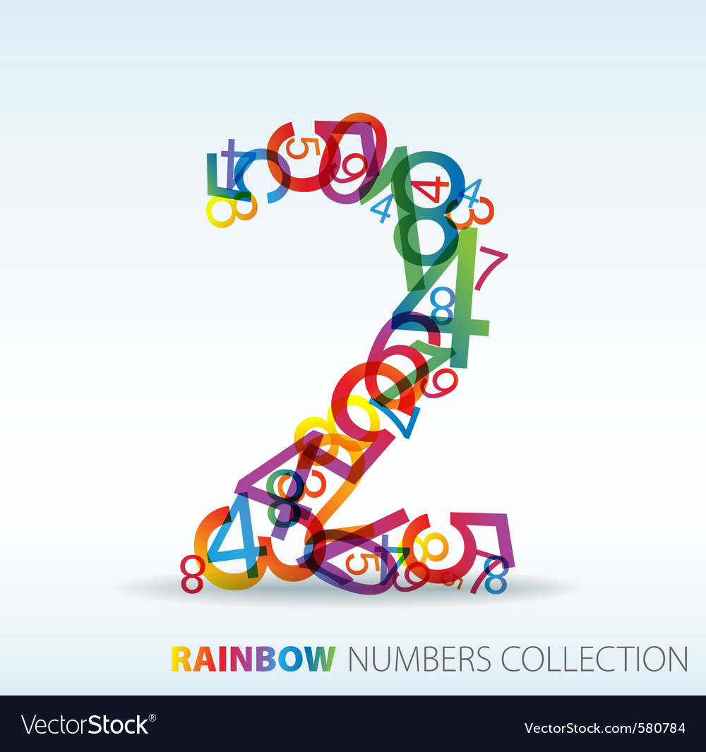 Rainbow number two vector | Price: 1 Credit (USD $1)