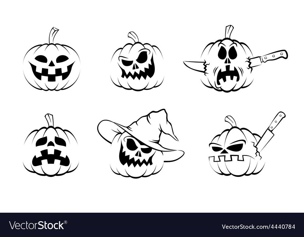 Set of halloween pumpkin icons vector | Price: 1 Credit (USD $1)
