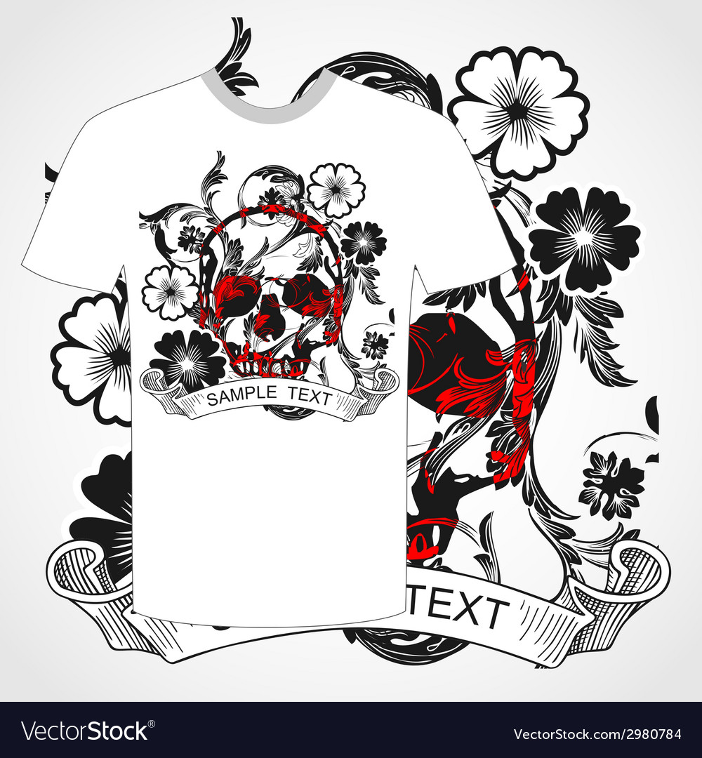Tshirt skull and flower vector | Price: 1 Credit (USD $1)