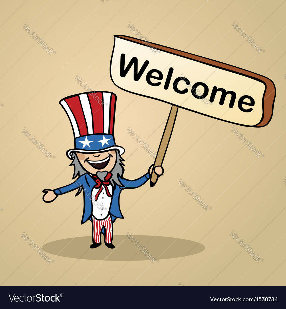 Welcome to usa people vector | Price: 1 Credit (USD $1)