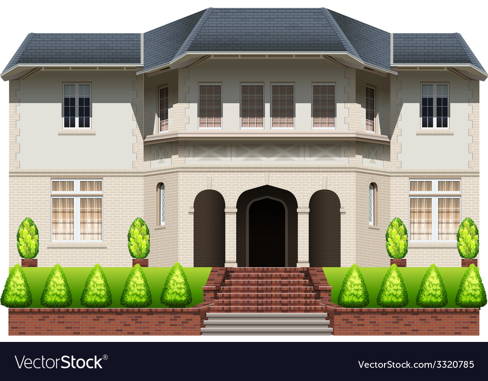 A big house with plants vector | Price: 3 Credit (USD $3)
