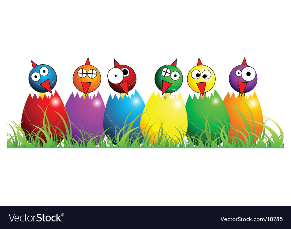 Easter chicks over white vector | Price: 1 Credit (USD $1)