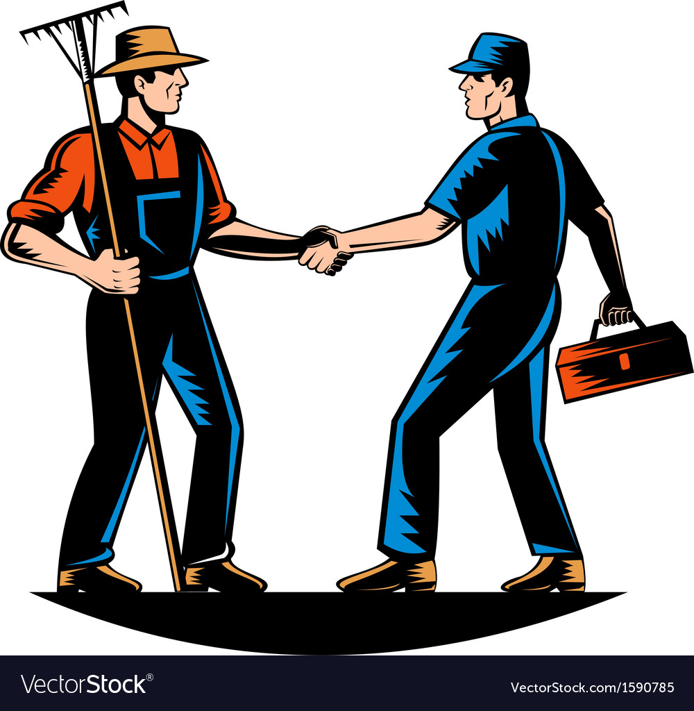 Farmer and tradesman mechanic handshake vector | Price: 1 Credit (USD $1)