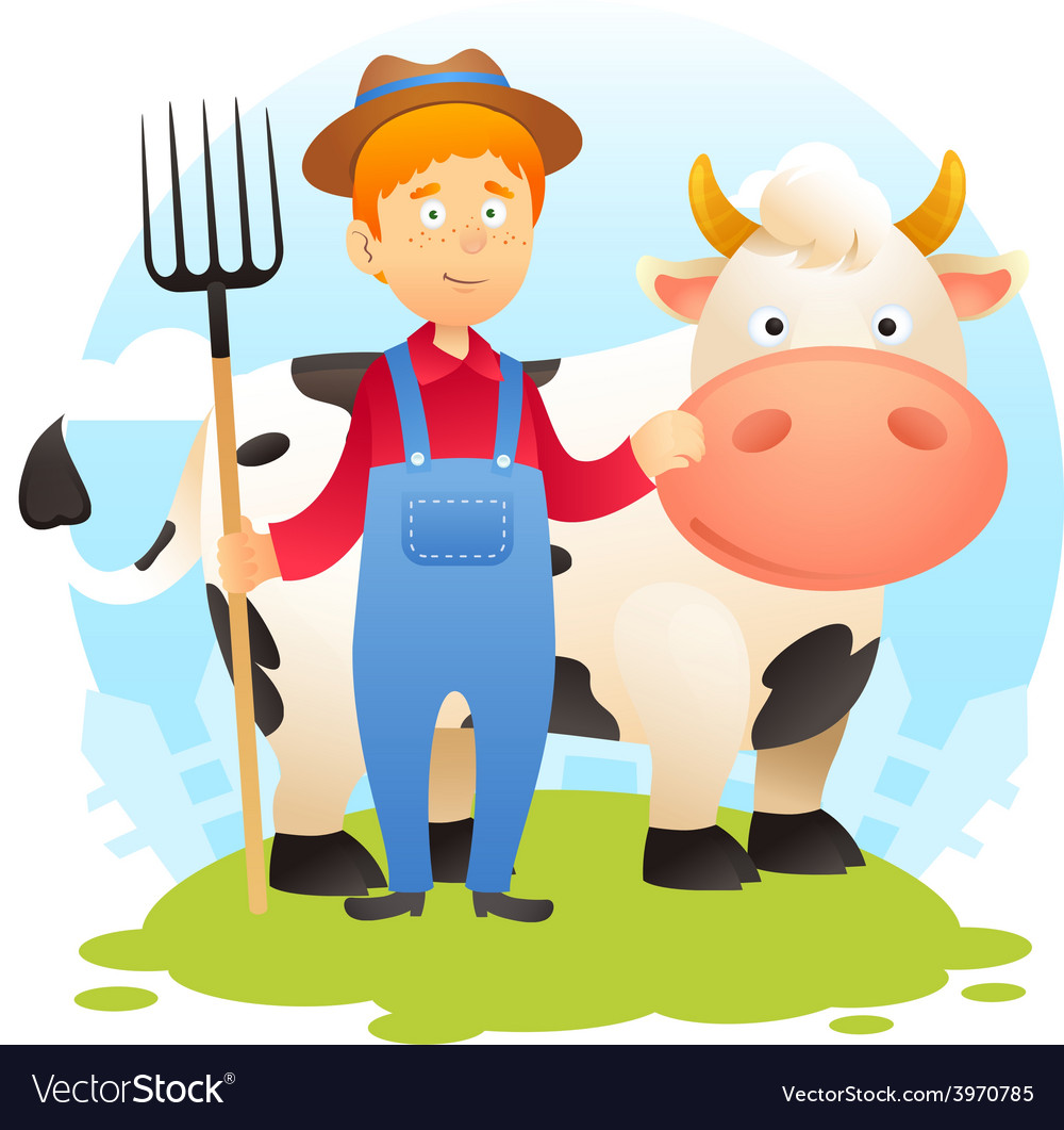 Farmer with cow vector | Price: 1 Credit (USD $1)