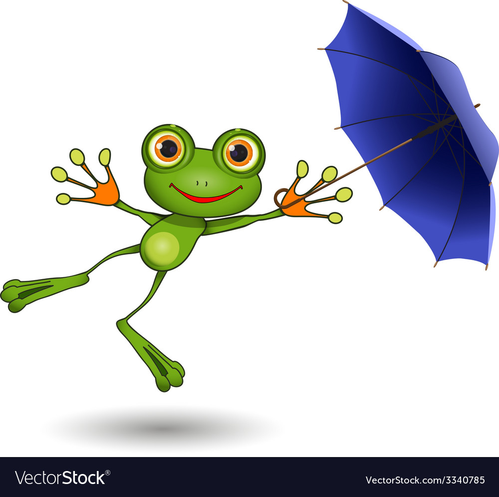 Frog with umbrella vector | Price: 1 Credit (USD $1)