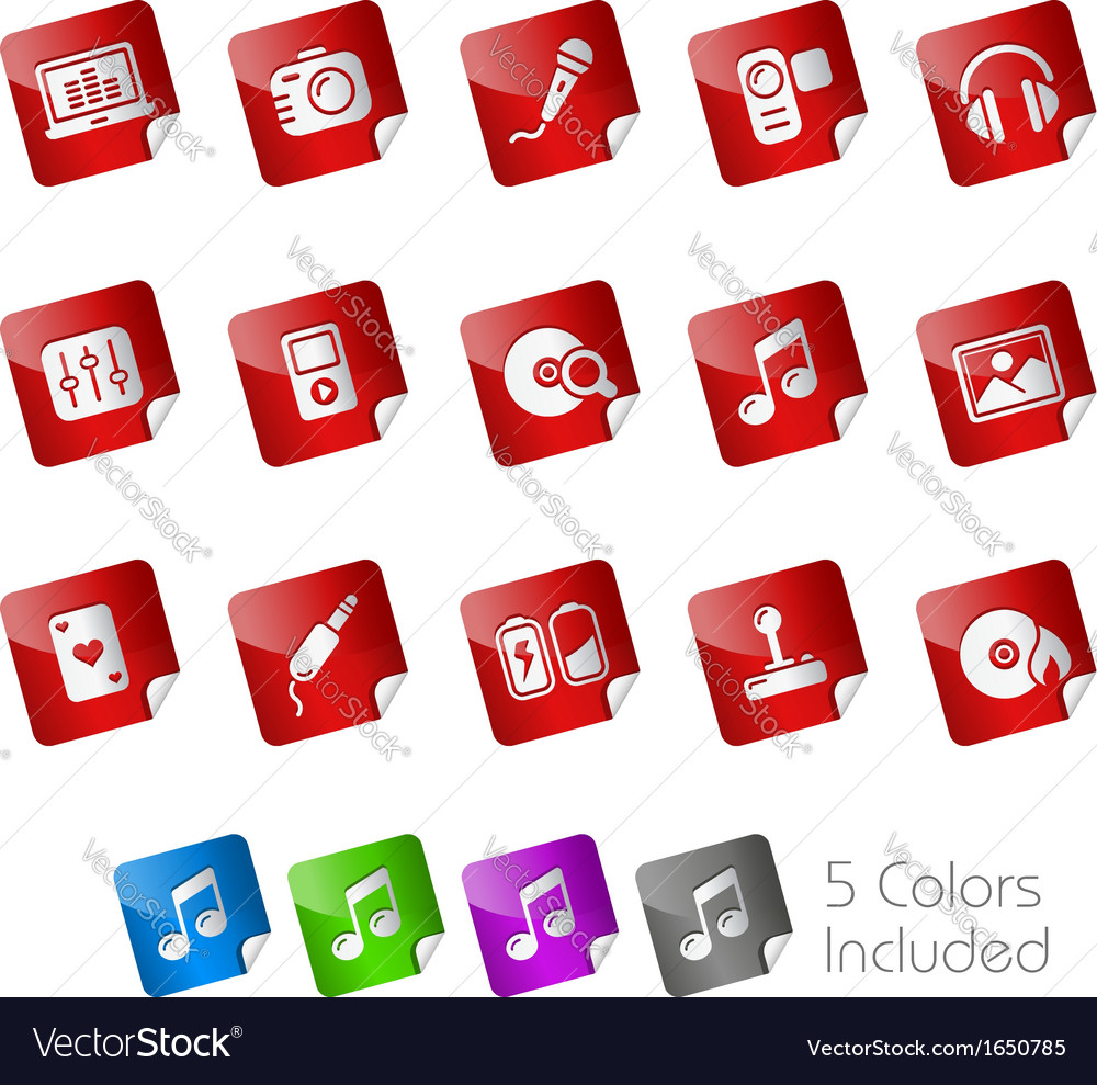 Media entertainment stickers vector | Price: 1 Credit (USD $1)