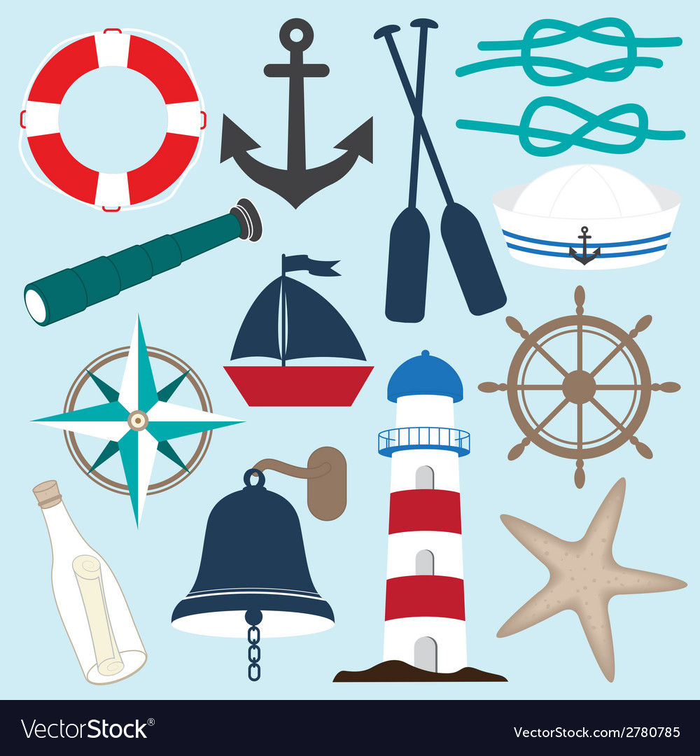Nautical objects collection vector | Price: 1 Credit (USD $1)