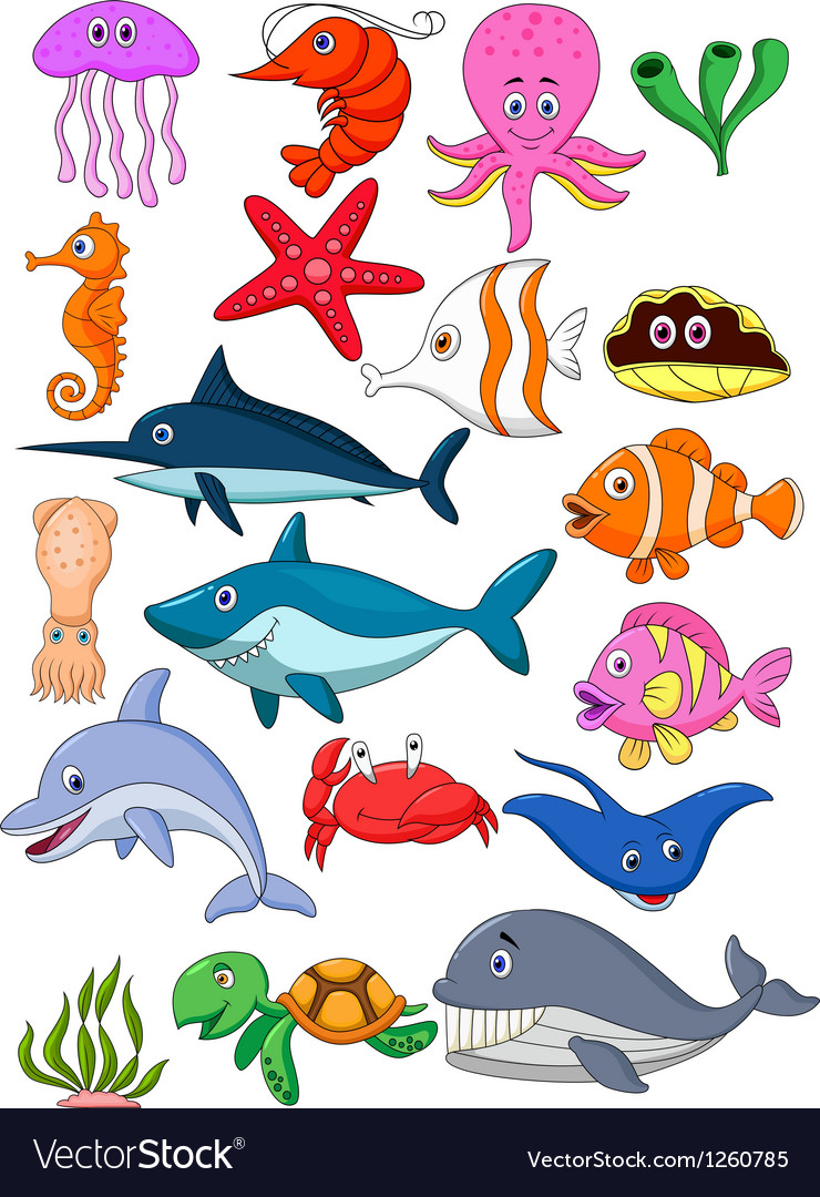 Sea life cartoon set vector | Price: 3 Credit (USD $3)