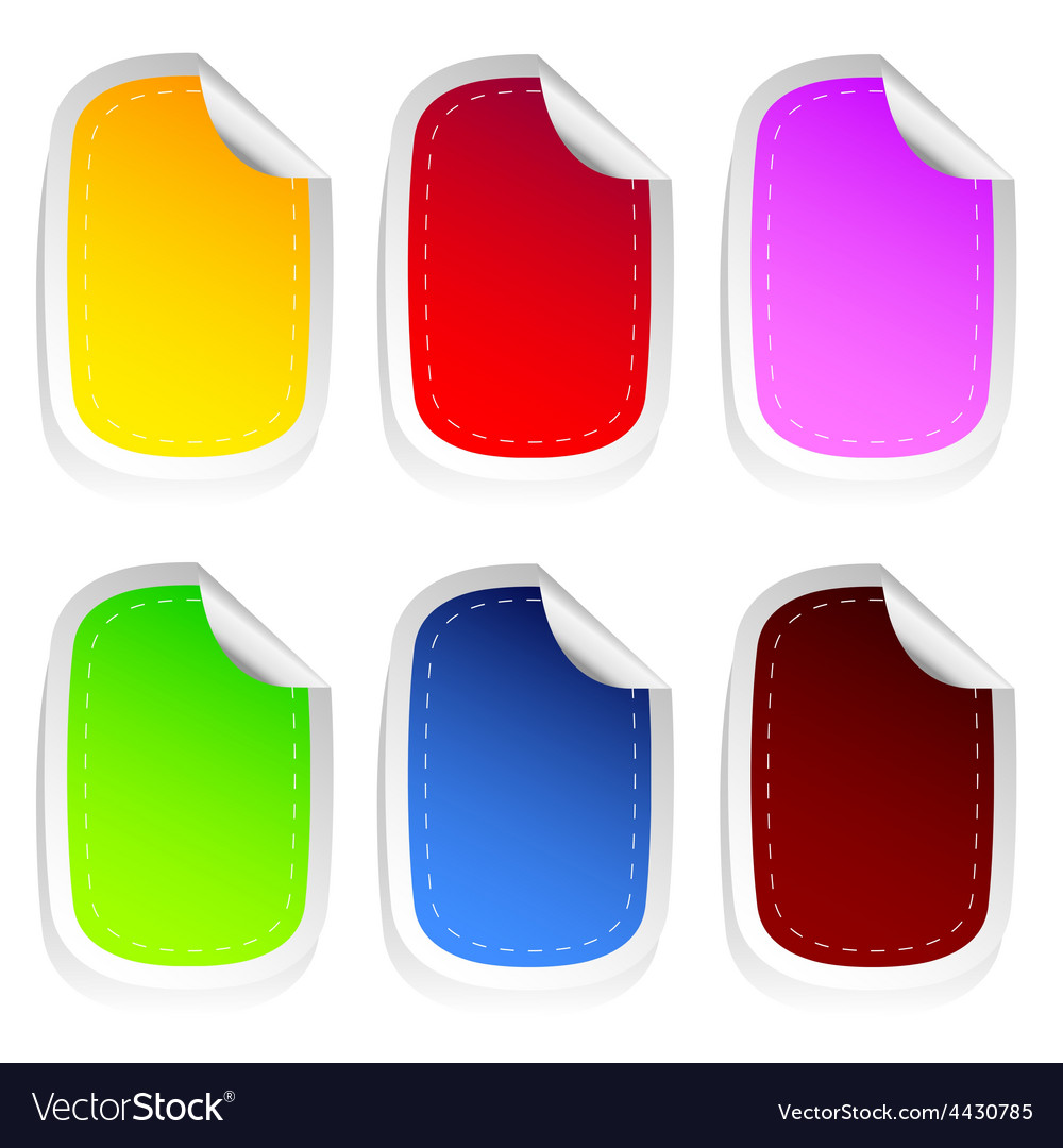 Sticker in six color set two vector | Price: 1 Credit (USD $1)