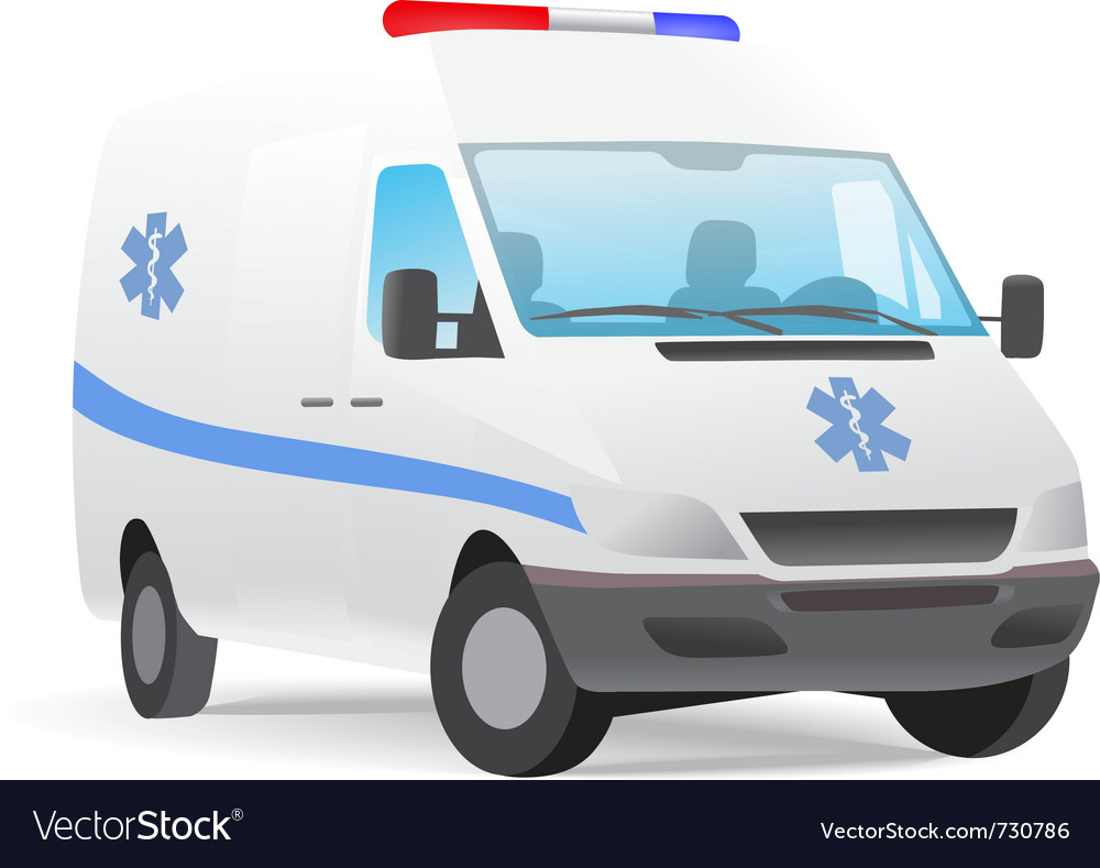 Ambulance van with caduceus sign vector | Price: 1 Credit (USD $1)