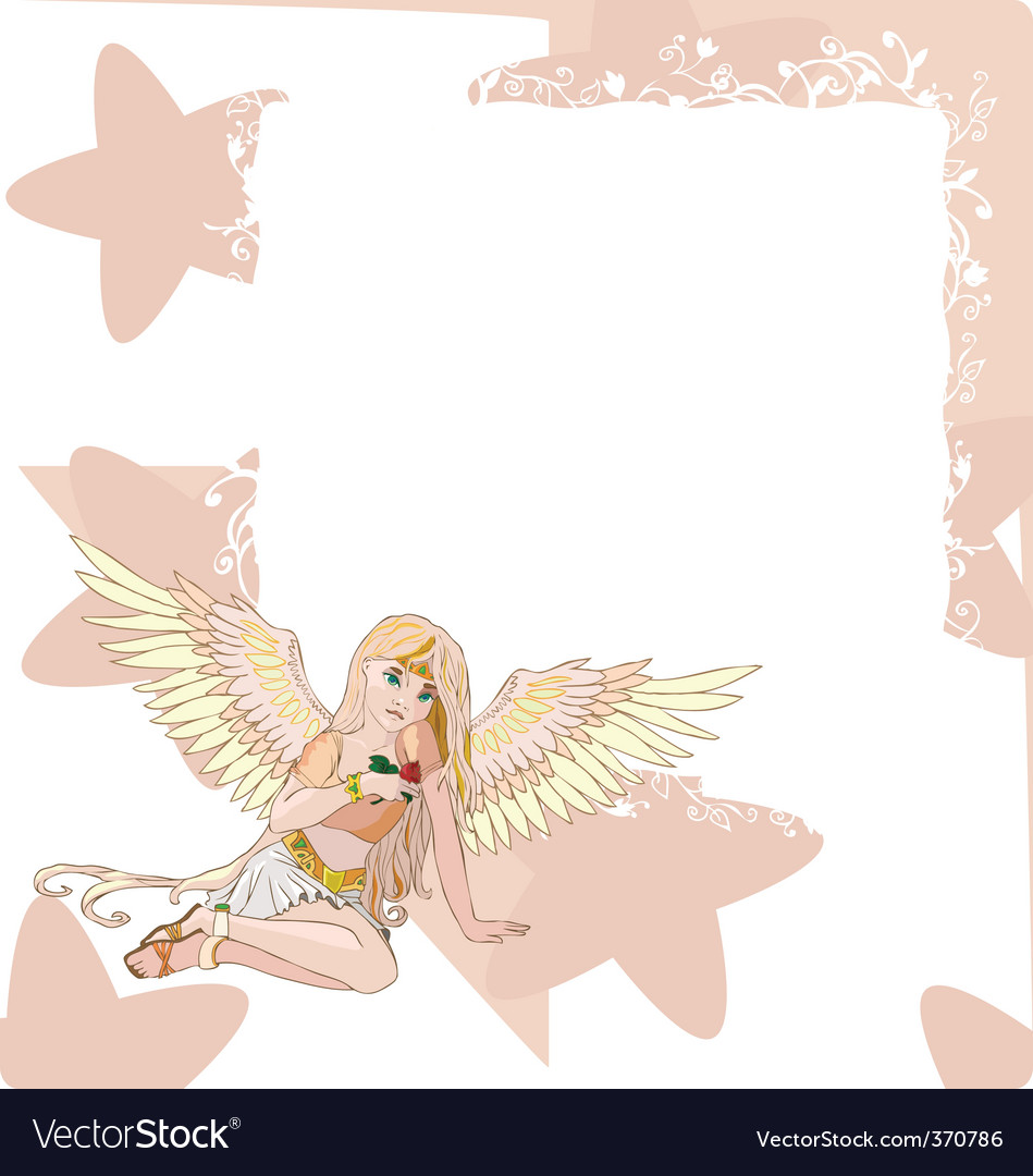Angel invitation card vector | Price: 1 Credit (USD $1)
