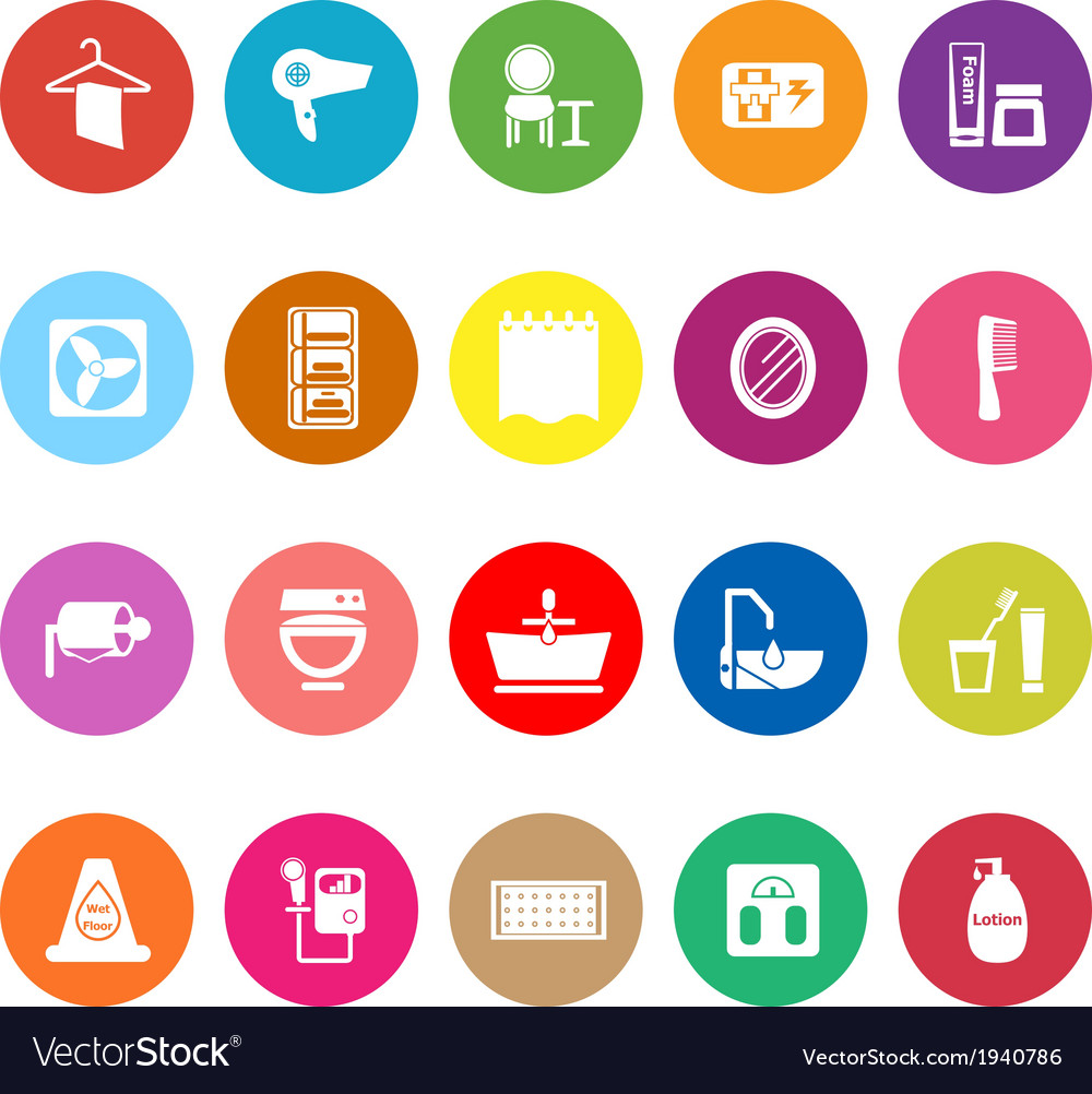 Bathroom flat icons on white background vector | Price: 1 Credit (USD $1)
