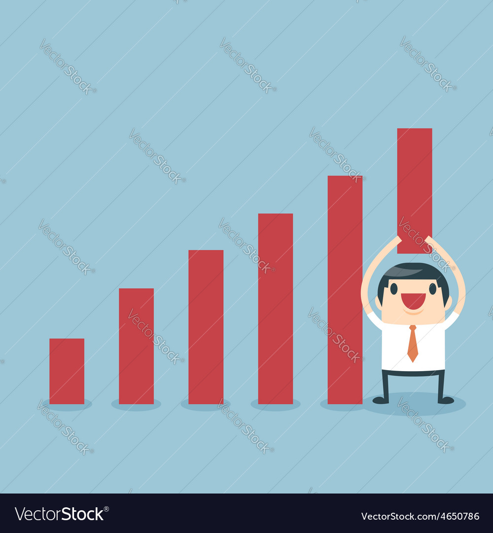 Businessman lifting increase graph vector | Price: 1 Credit (USD $1)