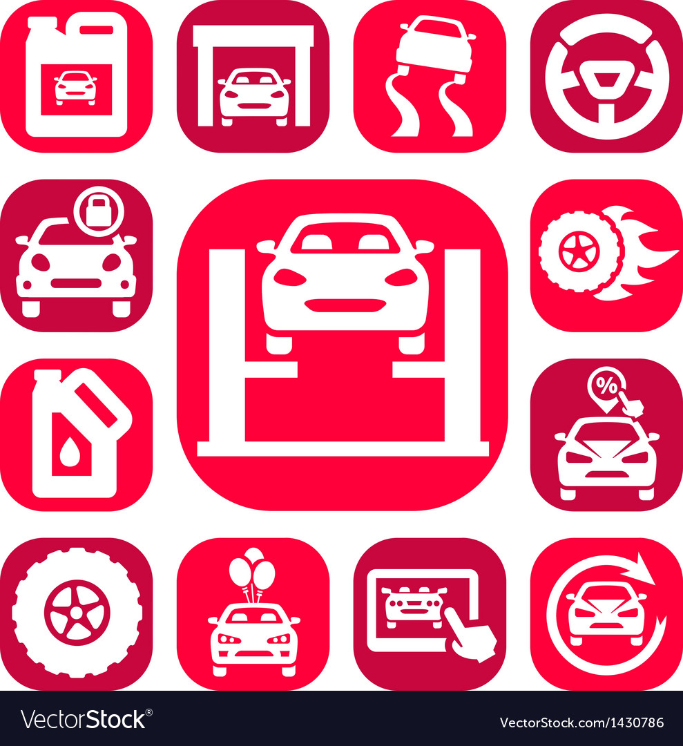 Color auto icons set vector | Price: 1 Credit (USD $1)
