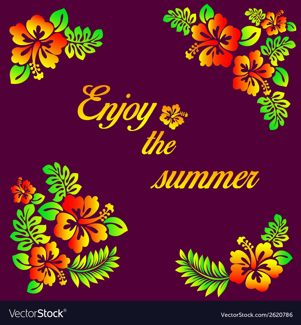 Enjoy the summer - hibiscus decoration vector | Price: 1 Credit (USD $1)
