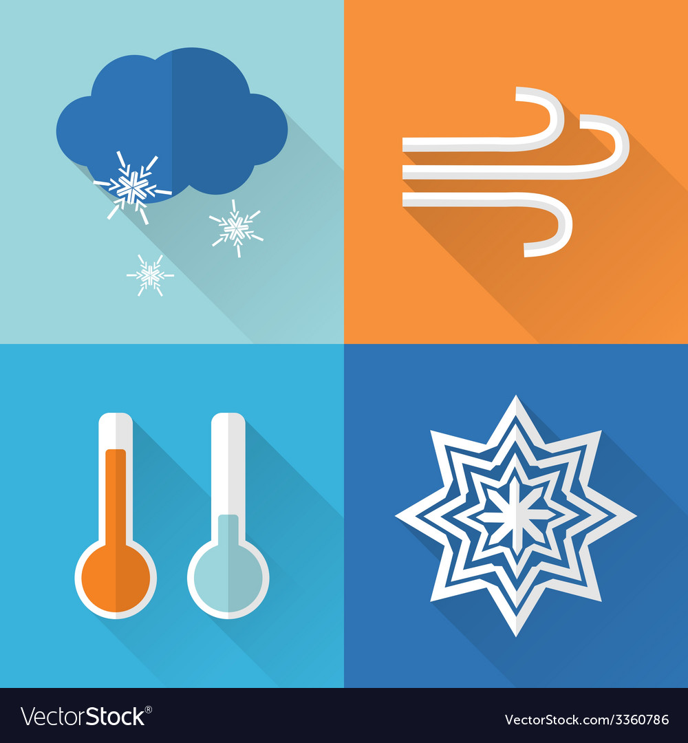 Flat style weather icons vector | Price: 1 Credit (USD $1)