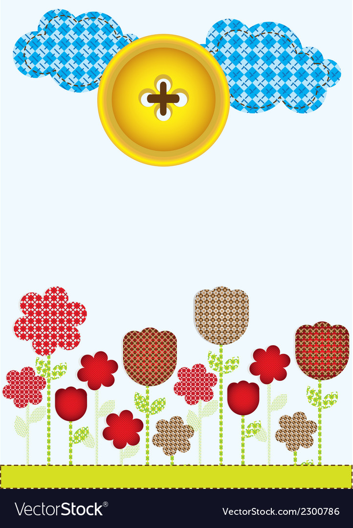 Flowers cut from different patterns clouds and sun vector | Price: 1 Credit (USD $1)