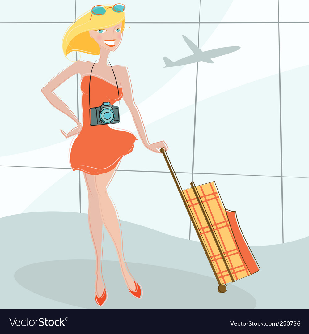 Girl waiting at airport vector | Price: 3 Credit (USD $3)