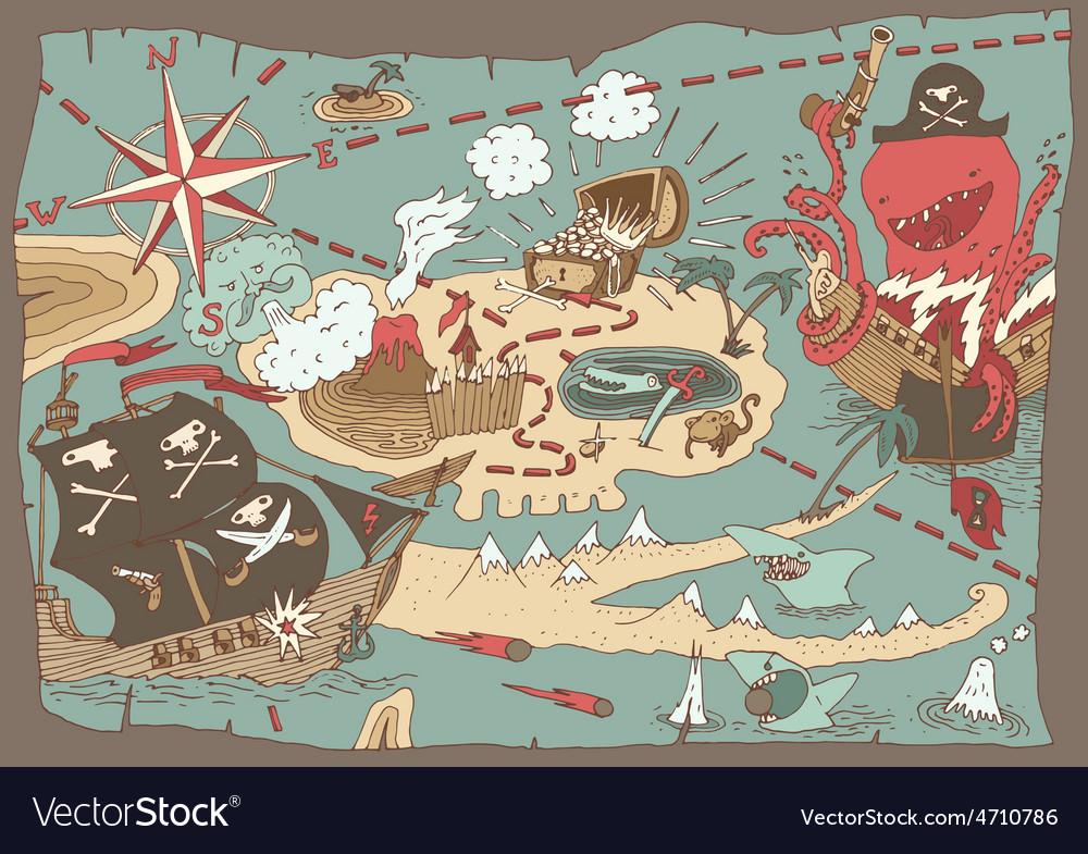 Island treasure map pirate map vector   Price: 1 Credit (USD $1)