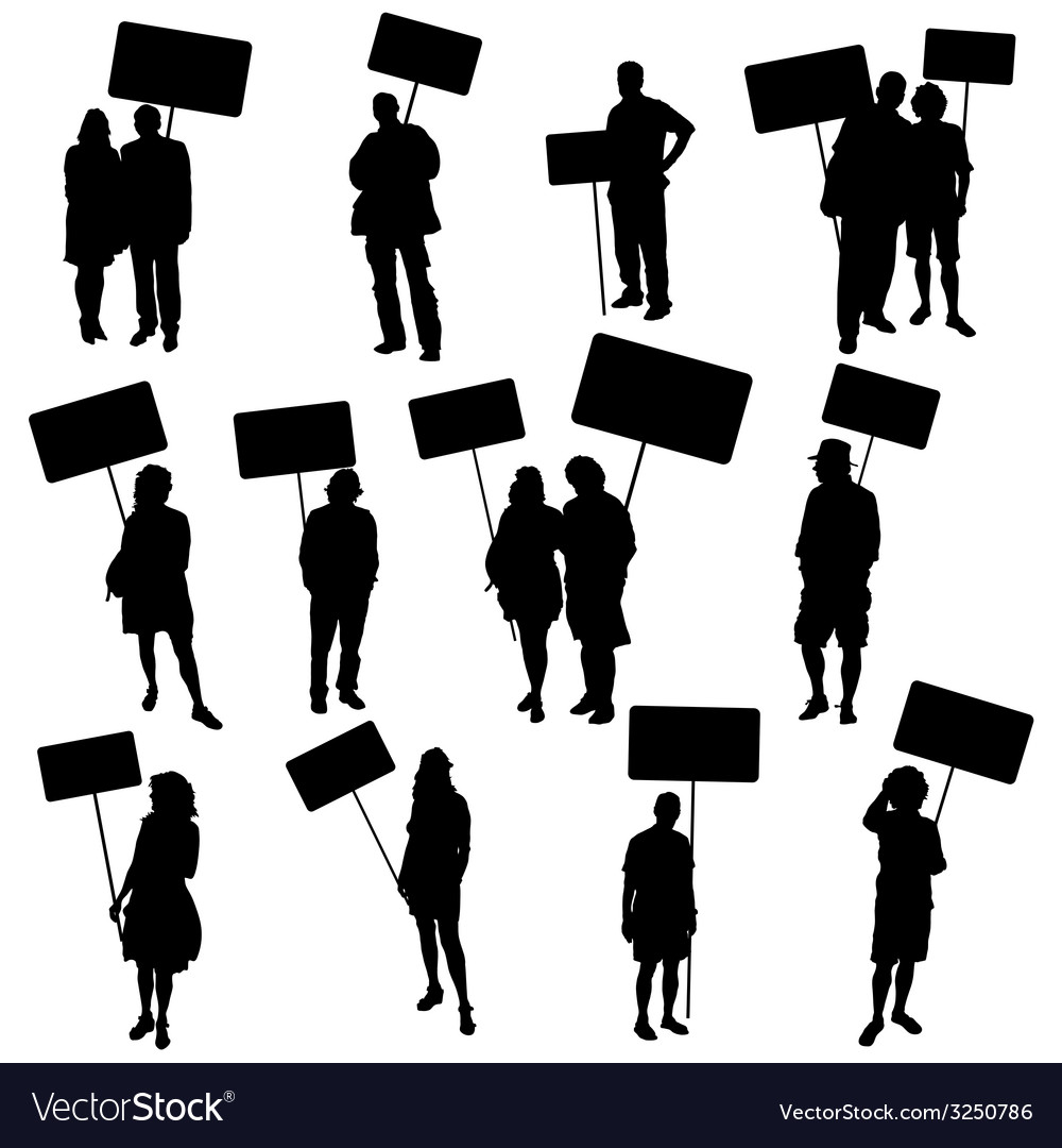 People holding blank board silhouette vector | Price: 1 Credit (USD $1)