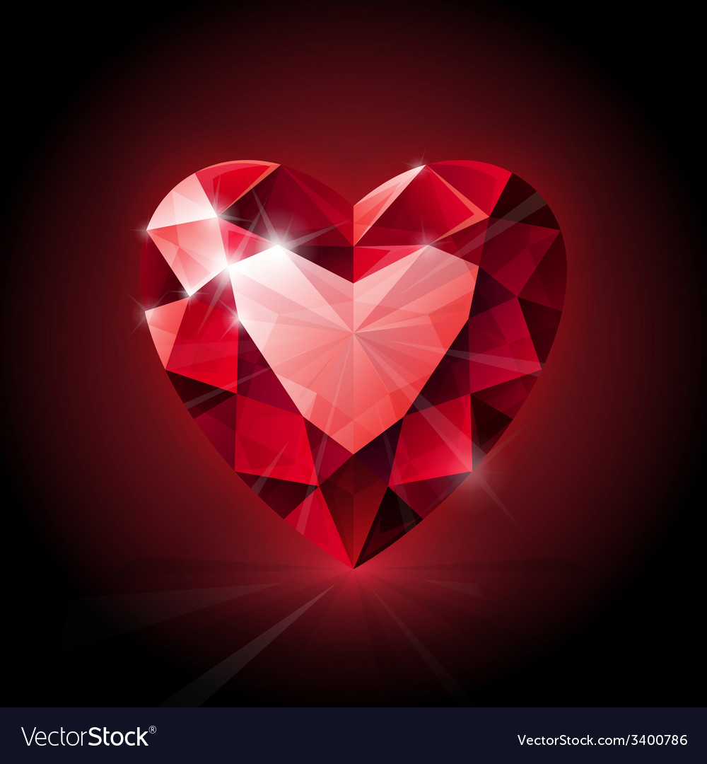 Red shining ruby heart shape on dark background vector | Price: 1 Credit (USD $1)