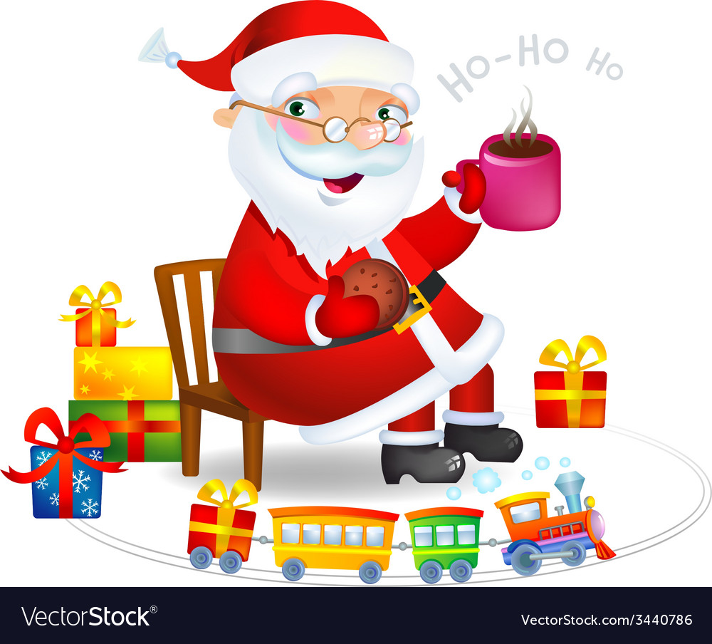Santa claus with a hot tea and cookies vector   Price: 3 Credit (USD $3)