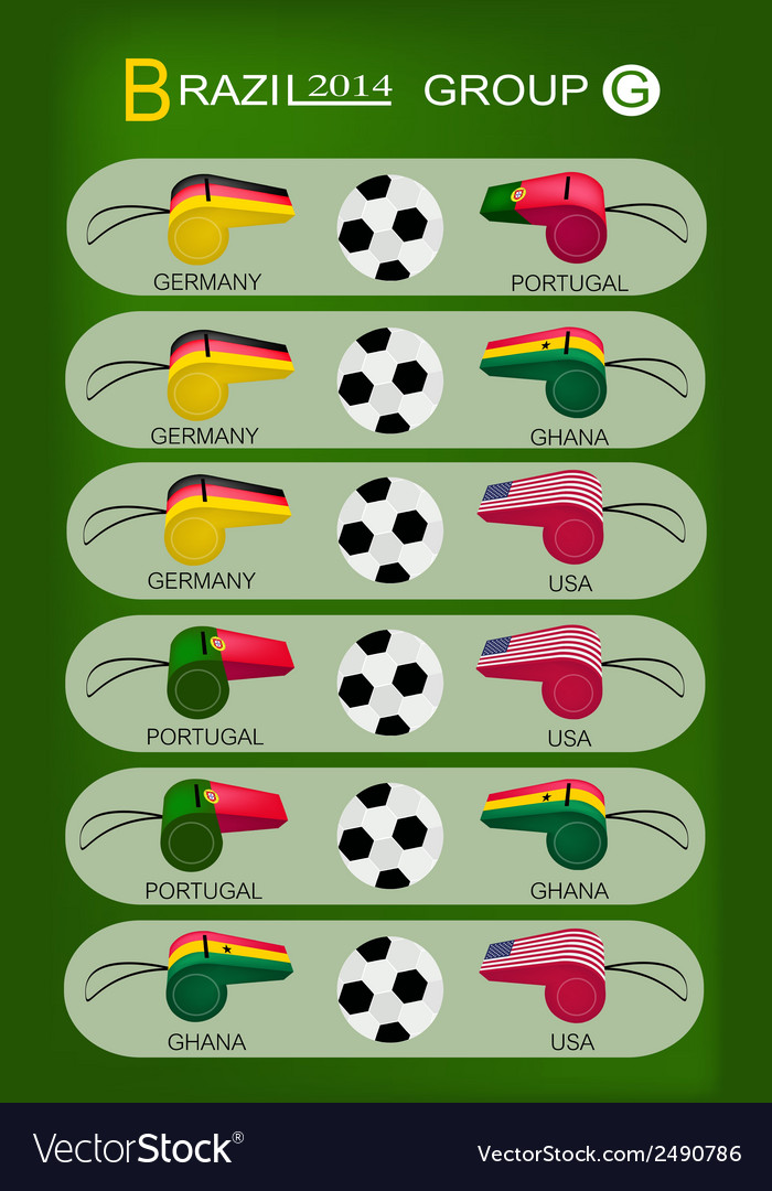 Soccer tournament of brazil 2014 group g vector | Price: 1 Credit (USD $1)