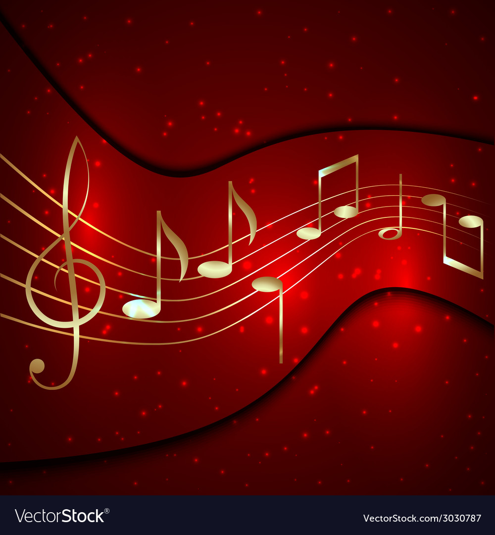 Abstract red musical background with golden notes vector | Price: 1 Credit (USD $1)