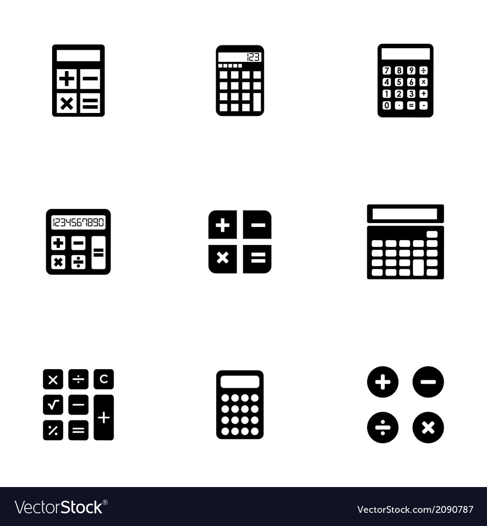 Black calculator icons set vector | Price: 1 Credit (USD $1)