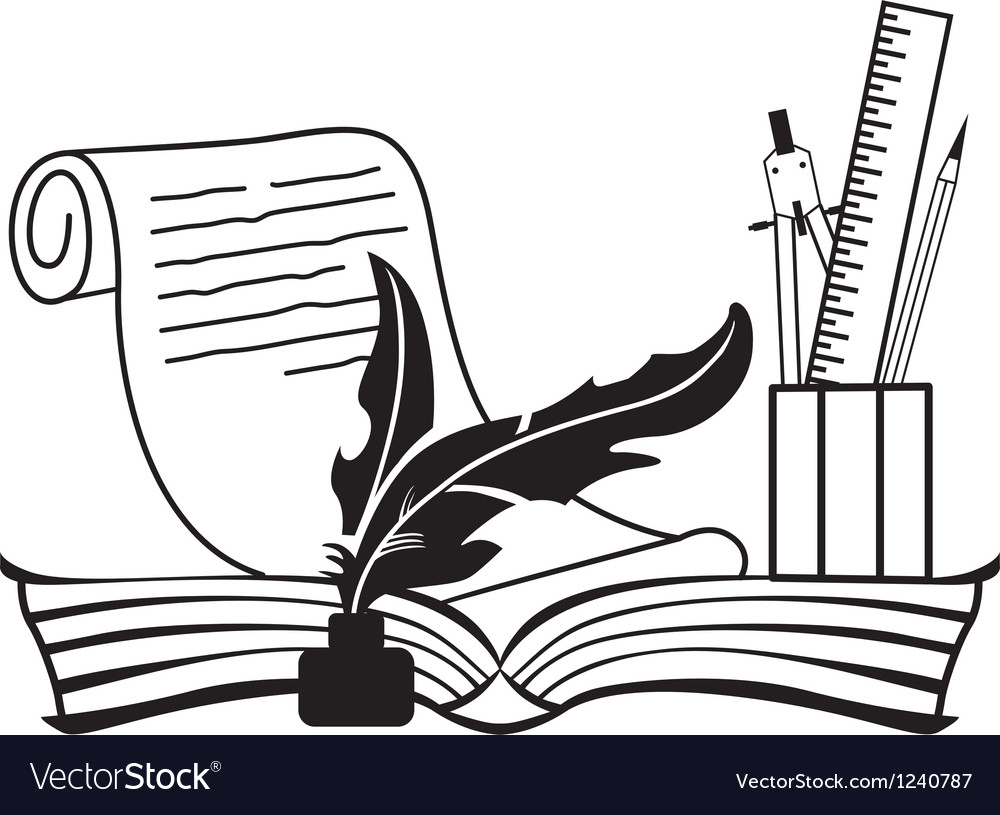 Book and pen vector | Price: 1 Credit (USD $1)