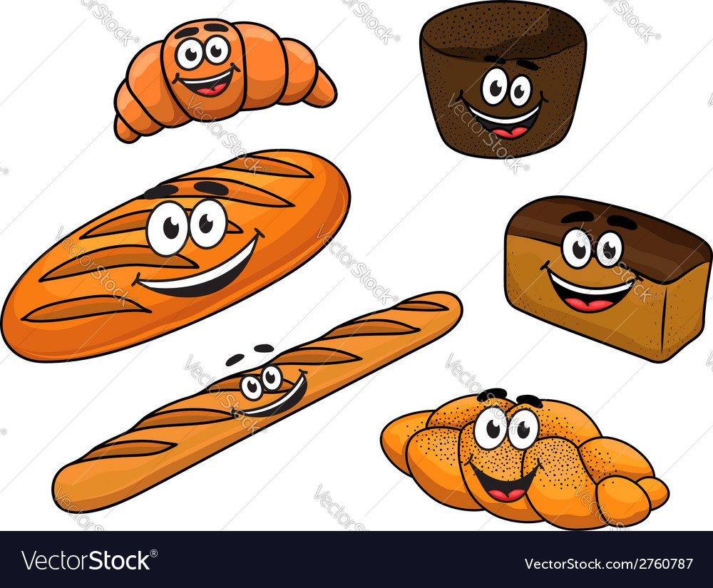 Cartoon bread bakeries vector | Price: 1 Credit (USD $1)