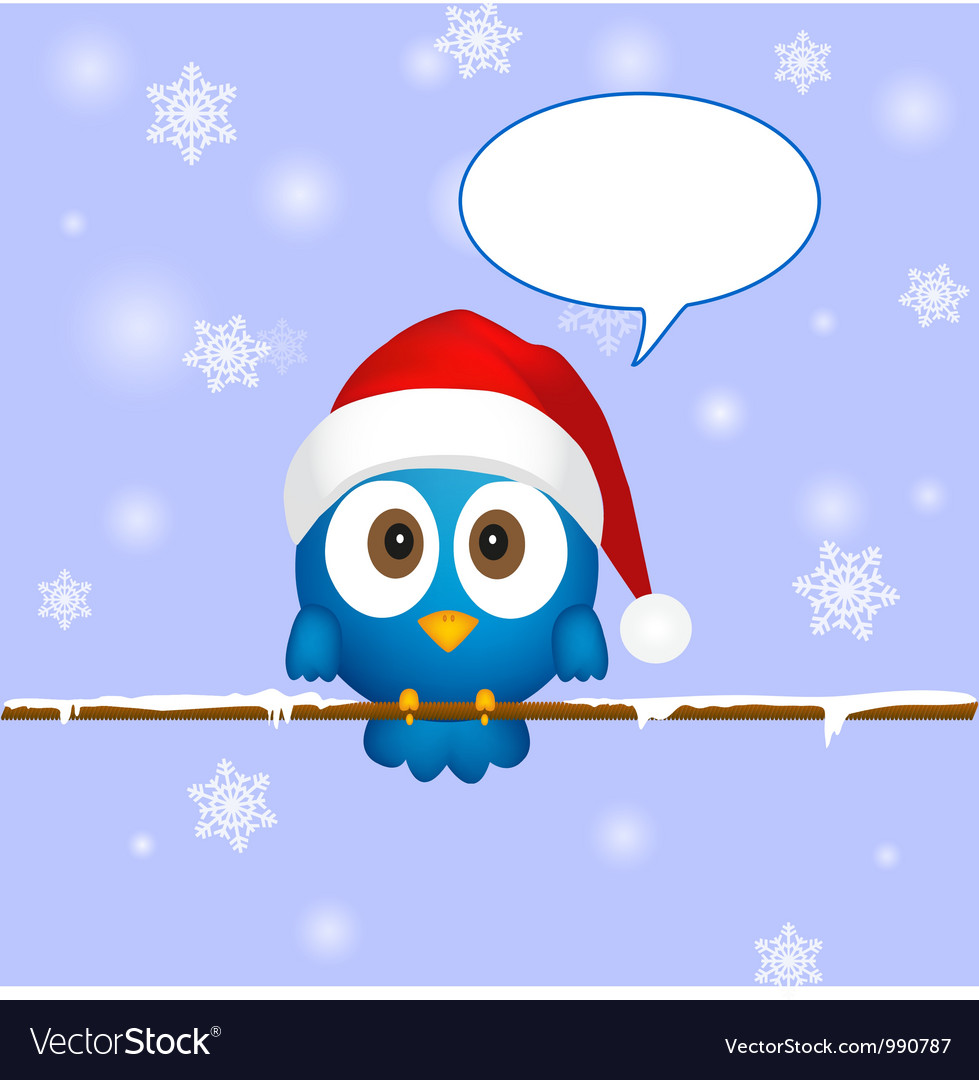 Cute blue christmas bird vector | Price: 1 Credit (USD $1)