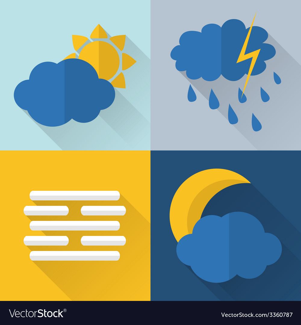 Flat style weather icons vector   Price: 1 Credit (USD $1)