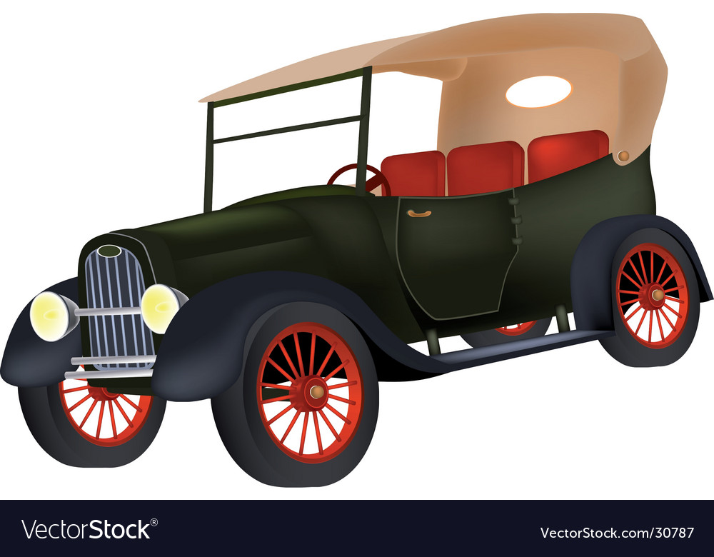 Old green car vector | Price: 1 Credit (USD $1)