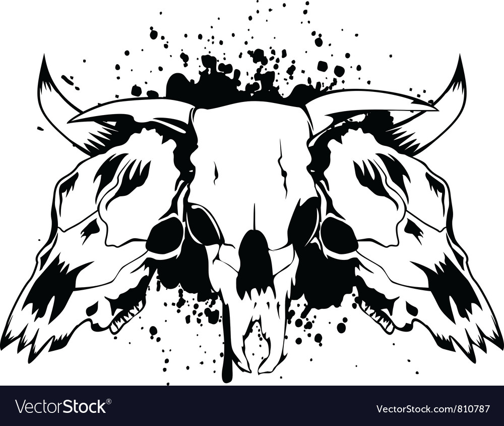 Skull bull 3 vector | Price: 1 Credit (USD $1)