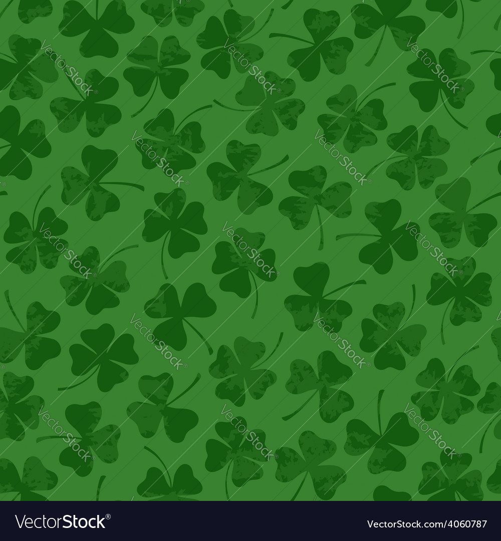 St patricks day seamless pattern with clover vector | Price: 1 Credit (USD $1)