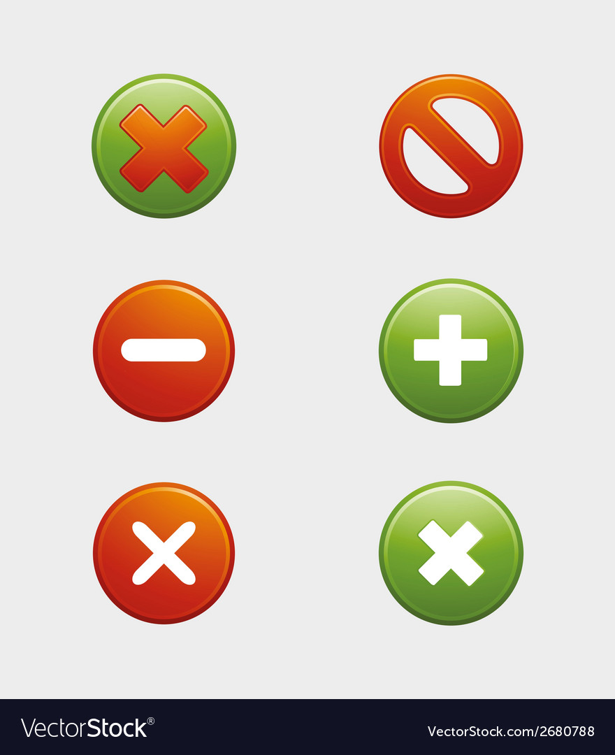 Approved and rejected cancel button false and righ vector | Price: 1 Credit (USD $1)