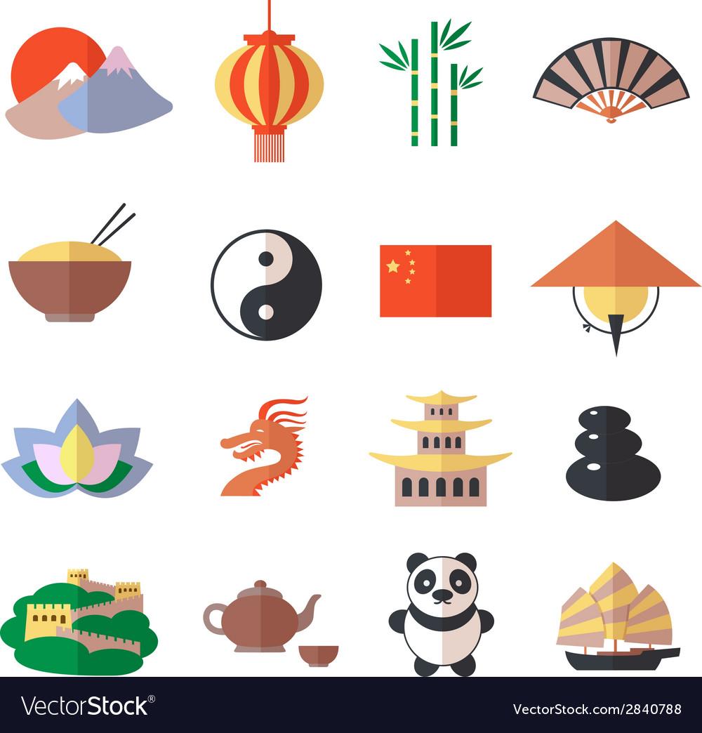 China icons set vector | Price: 1 Credit (USD $1)