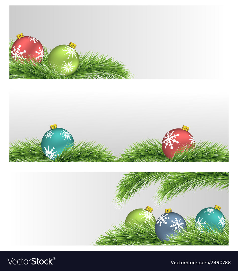 Christmas balls on pine branches vector | Price: 1 Credit (USD $1)