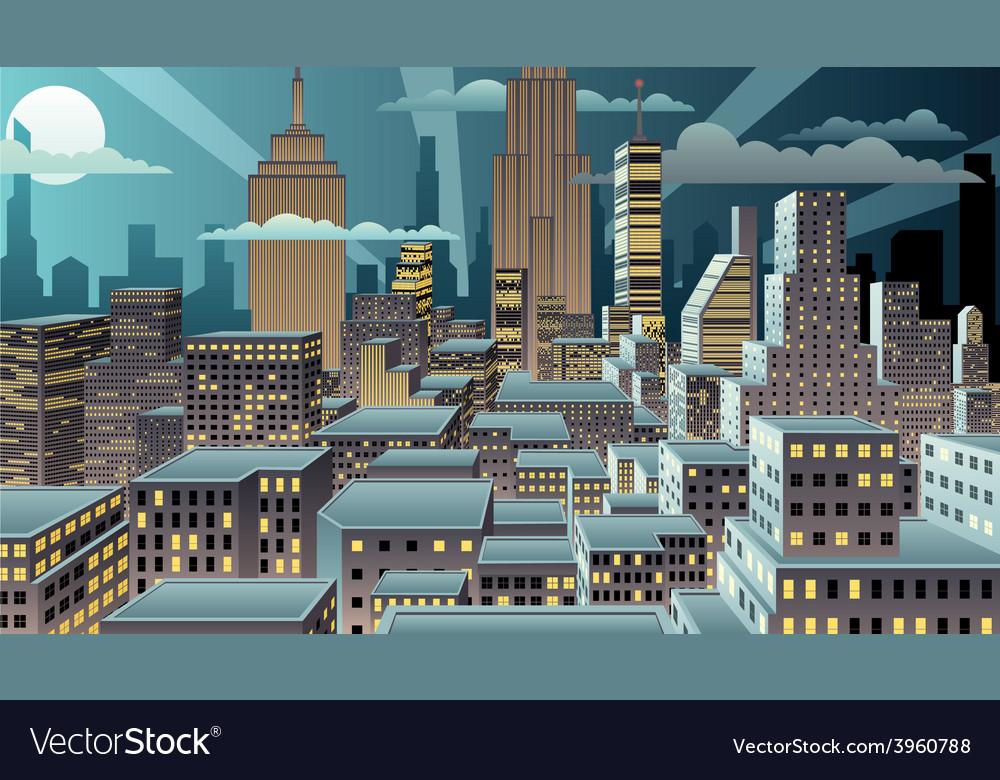 Cityscape night vector | Price: 3 Credit (USD $3)