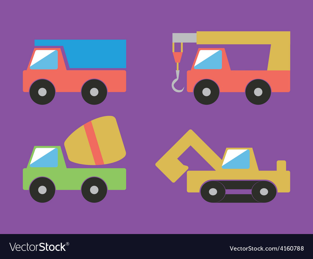 Construction cars set vector | Price: 1 Credit (USD $1)