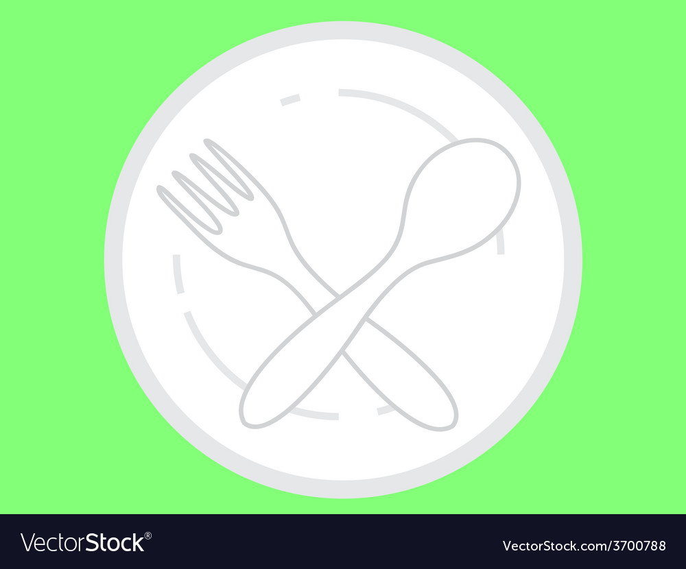 Empty plate with spoon and fork vector | Price: 1 Credit (USD $1)