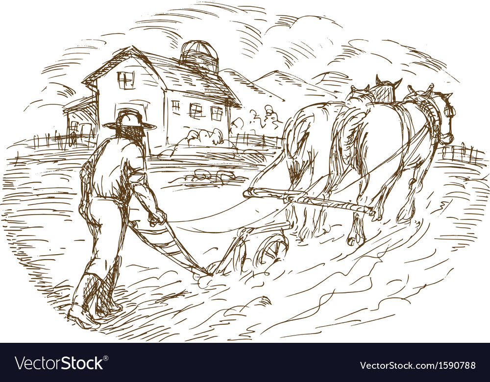 Farmer and horse plowing the field with barn vector | Price: 1 Credit (USD $1)