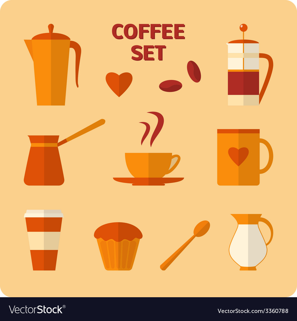 Flat coffee icons set vector | Price: 1 Credit (USD $1)