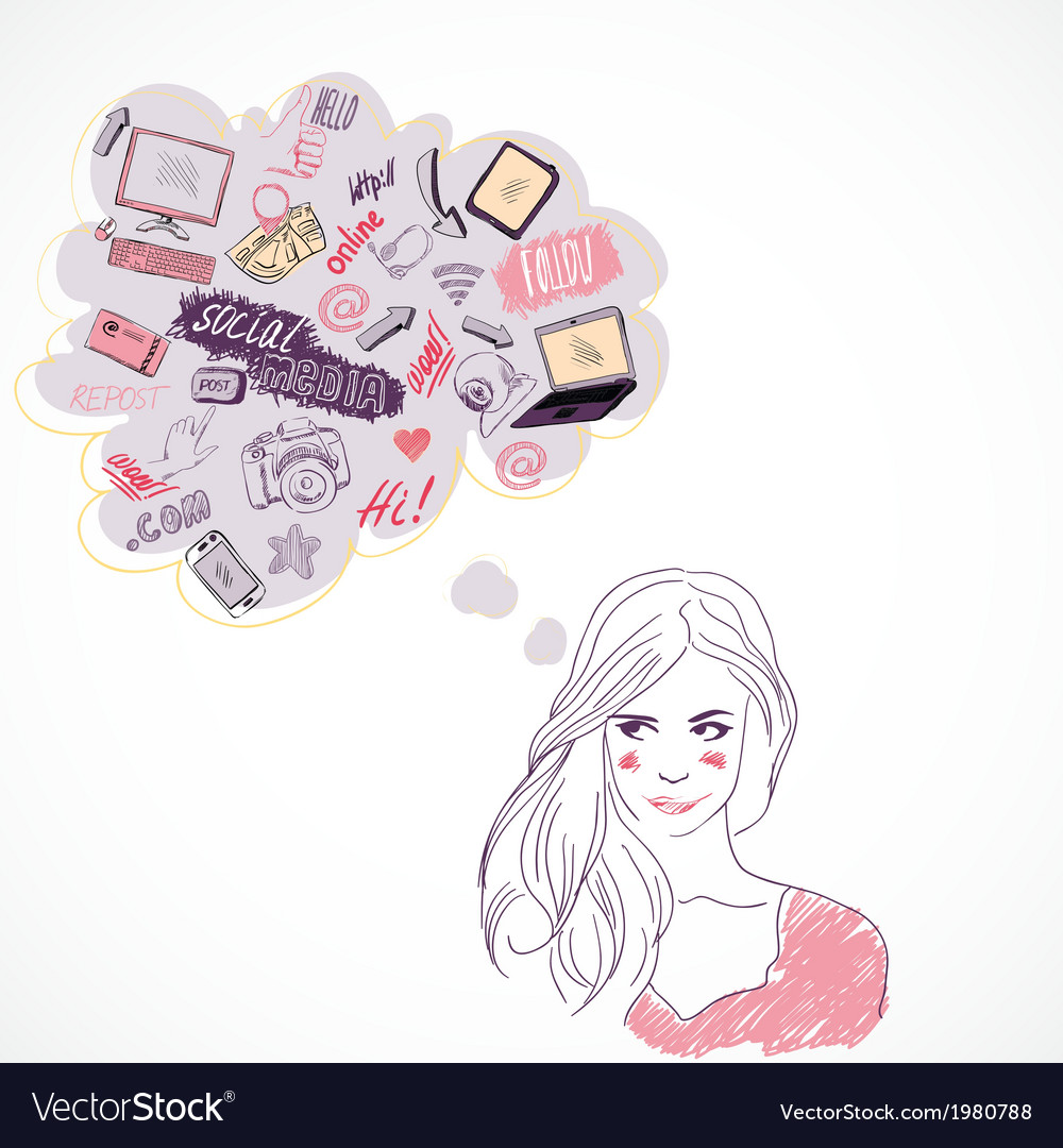 Girl thinking about social media technology vector | Price: 1 Credit (USD $1)