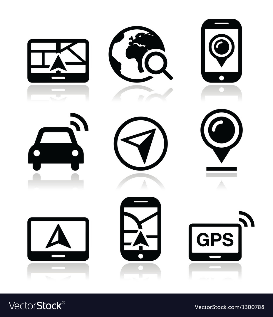 Gps navigation travel icons set vector | Price: 1 Credit (USD $1)