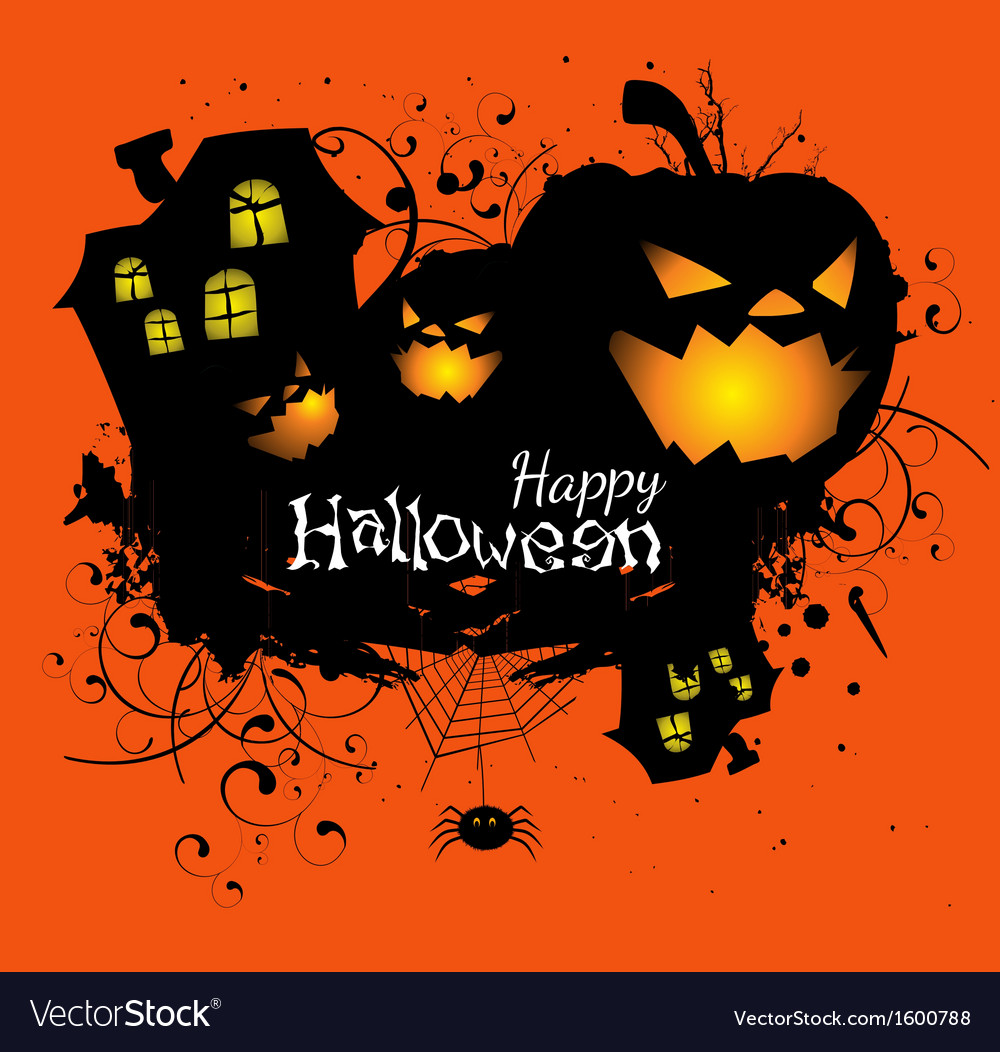 Halloween grunge card or background vector | Price: 1 Credit (USD $1)