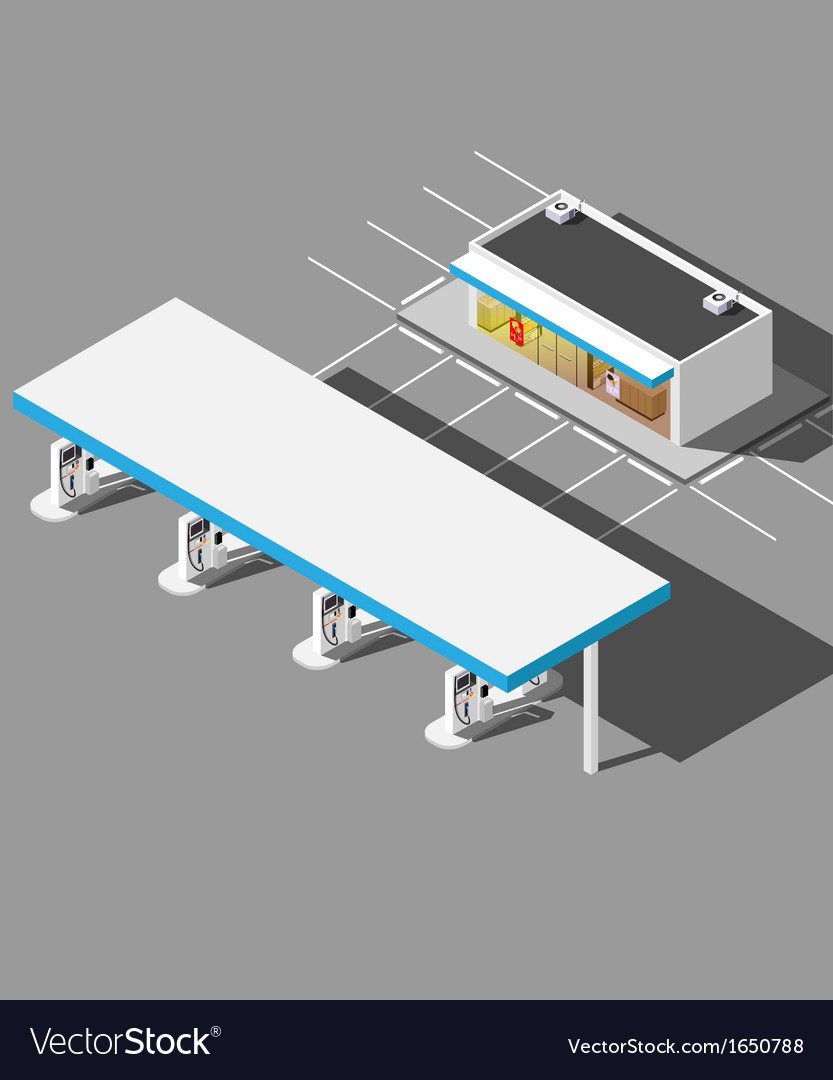 Isometric modern gas station vector | Price: 1 Credit (USD $1)